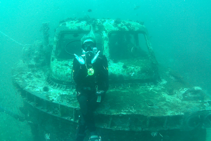 diver at artificial reef