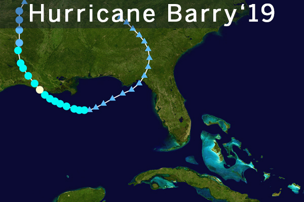 Tracking image of the 2019 hurricane, Barry