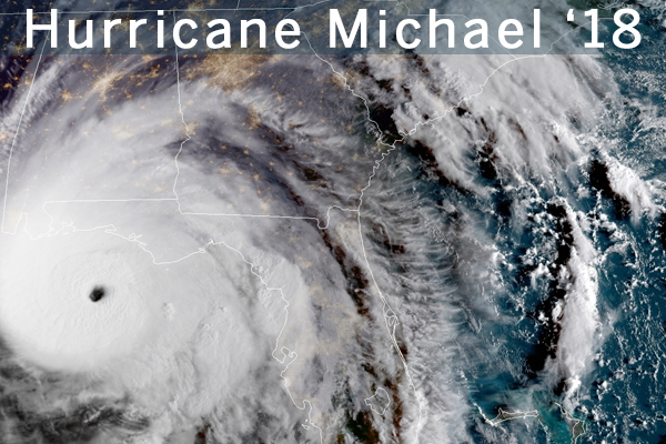 Satellite image of the 2018 hurricane, Michael