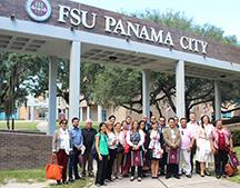 Eighteen South American university and college officials and government leaders toured FSU Panama City on Thursday as part of the Community College Administrator Program.