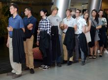 First-year students line up for Convocation