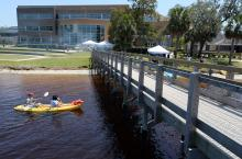 Paddle boarders next to FSUPC pier