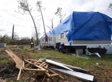 Trailer home damaged by Hurricane Michael